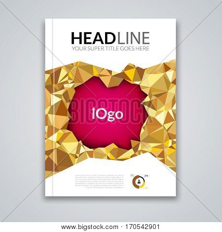 Cover report colorful gold triangle geometric prospectus design background, cover flyer magazine, brochure book cover template layout, vector illustration.