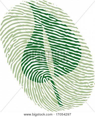 green leaf fingerprint