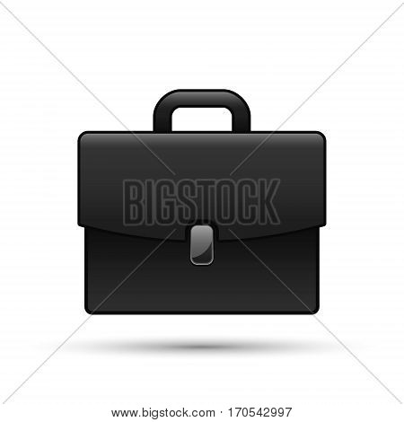 Black briefcase isolated on white realistic vector business case illustration.