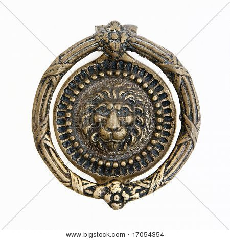 massive lion motif antique bronze door knocker