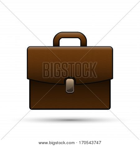 Brown briefcase isolated on white realistic vector business case illustration.