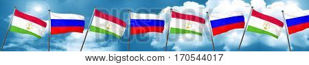 Tajikistan flag with Russia flag, 3D rendering
