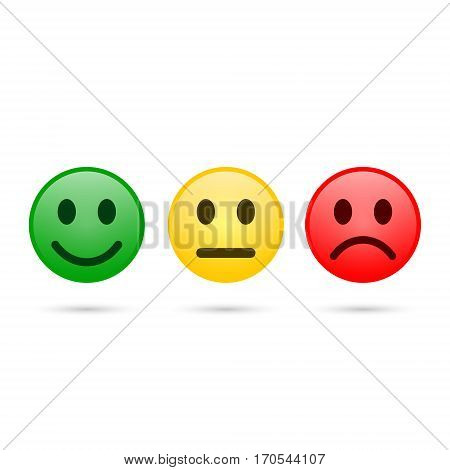 Smiley emoticons icon positive neutral and negative vector isolated illustration of red yellow and green different mood.