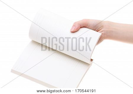 Hand holding blank notebook isolated on white background