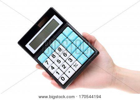 Hand holding calculator isolated on white background