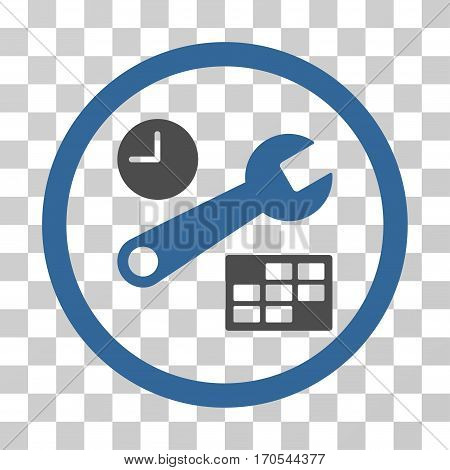 Date And Time Setup rounded icon. Vector bicolor illustration style is a flat iconic symbol inside a circle cobalt and gray colors transparent background. Designed for web and software interfaces.