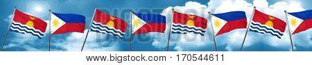 Kiribati flag with Philippines flag, 3D rendering