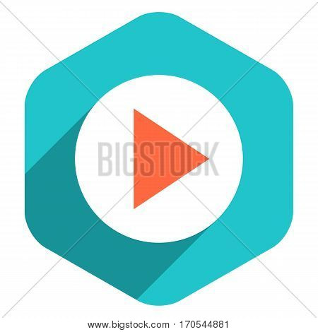 Use it in all your designs. Arrow sign play icon in hexagon shape. Multimedia audio video movie interface button in flat long shadow style. Recolorable vector illustration a graphic element for design