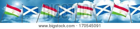 Tajikistan flag with Scotland flag, 3D rendering