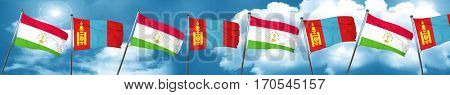 Tajikistan flag with Mongolia flag, 3D rendering