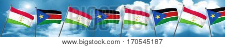 Tajikistan flag with South Sudan flag, 3D rendering