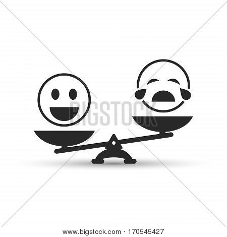 Smiley emoticons different mood on scales vector icon. Positive attitude as advantage. Happiness versus sadness joy vs weeping.