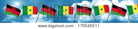 Malawi flag with Senegal flag, 3D rendering