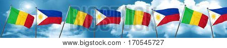 Mali flag with Philippines flag, 3D rendering