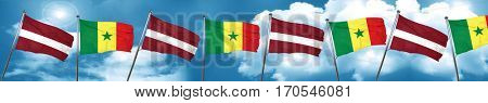 Latvia flag with Senegal flag, 3D rendering