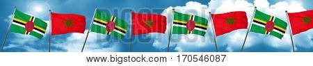 Dominica flag with Morocco flag, 3D rendering