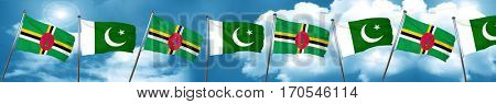 Dominica flag with Pakistan flag, 3D rendering