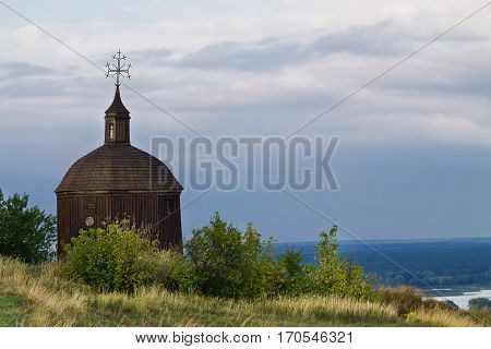 old chapel on the slopes of the Dnieper River in the village Vitachev