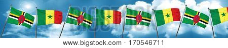 Dominica flag with Senegal flag, 3D rendering