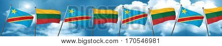 Democratic republic of the congo flag with Lithuania flag, 3D re