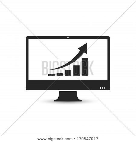 Computer monitor with business graph growing chart on the screen icon. Vector.
