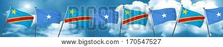 Democratic republic of the congo flag with Somalia flag, 3D rend