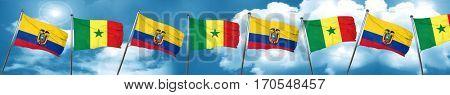 Ecuador flag with Senegal flag, 3D rendering