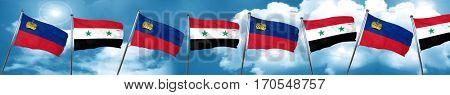 Liechtenstein flag with Syria flag, 3D rendering
