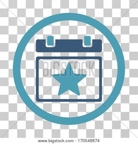 Favourites Day rounded icon. Vector bicolor illustration style is a flat iconic symbol inside a circle cyan and blue colors transparent background. Designed for web and software interfaces.