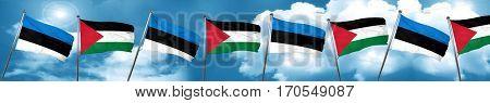 estonia flag with Palestine flag, 3D rendering