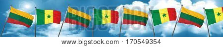 Lithuania flag with Senegal flag, 3D rendering