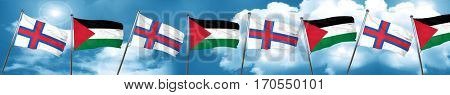faroe islands flag with Palestine flag, 3D rendering