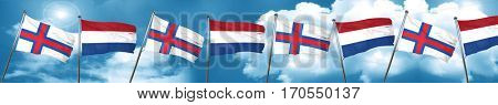faroe islands flag with Netherlands flag, 3D rendering