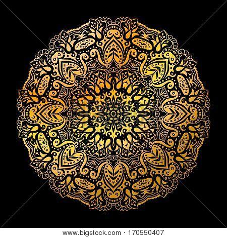 Golden indian mandala circle pattern on the black background.