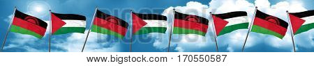 Malawi flag with Palestine flag, 3D rendering