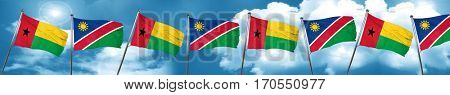 Guinea bissau flag with Namibia flag, 3D rendering