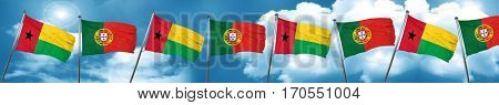 Guinea bissau flag with Portugal flag, 3D rendering