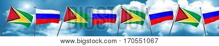 Guyana flag with Russia flag, 3D rendering