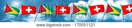 Guyana flag with Switzerland flag, 3D rendering