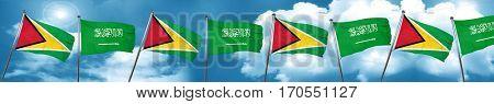 Guyana flag with Saudi Arabia flag, 3D rendering