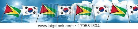 Guyana flag with South Korea flag, 3D rendering