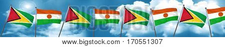 Guyana flag with Niger flag, 3D rendering