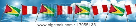Guyana flag with Peru flag, 3D rendering