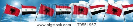 Albania flag with Syria flag, 3D rendering