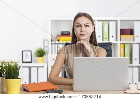 Sceptical Businesswoman In Colorful Office
