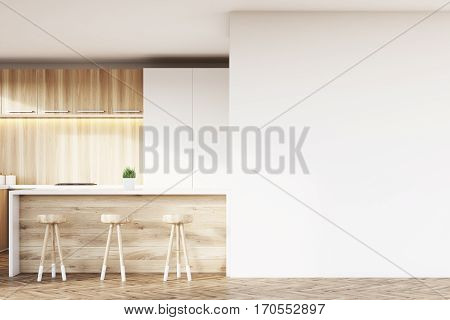 White And Wooden Kitchen Bar