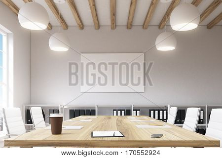 Conference Room With Wooden Table