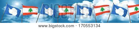 antarctica flag with Lebanon flag, 3D rendering