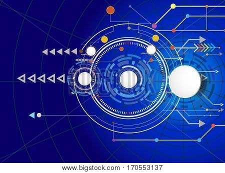 Vector illustration Hi-tech digital technology design colorful on circuit board and gear wheel engineering digital telecoms technology concept Abstract futuristic- technology on cobweb network background.