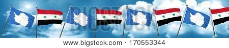 antarctica flag with Syria flag, 3D rendering